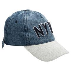 Παιδικά - Καπέλο από ύφασμα με όψη ντένιμ και φανέλα