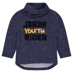 Μακρυμάνικη μπλούζα από ζέρσεϊ μελανζέ με πετσετέ γράμματα