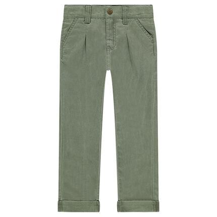 Βαμβακερό υφασμάτινο παντελόνι με πιέτες