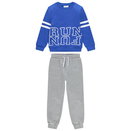 Jogging en molleton avec sweat bleu printé et pantalon chiné