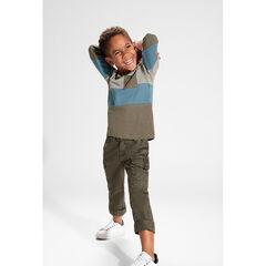 Παντελόνι τουίλ χακί με νηματοβαφή και τσέπες