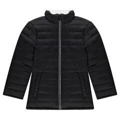 Παιδικά - Καπιτονέ φουσκωτό μπουφάν διπλής όψης με φερμουάρ σε αντίθεση