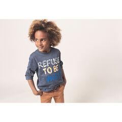 Μακρυμάνικη ζέρσεϊ μελανζέ μπλούζα με τυπωμένο και κεντημένο μήνυμα