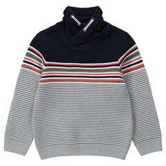 Πλεκτό πουλόβερ με γυριστό λαιμό και ρίγες σε αντίθεση