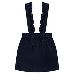 Κοντή φούστα υφασμάτινη με τιράντες με βολάν
