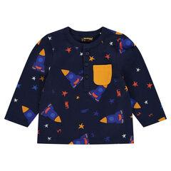 Μακρυμάνικη μπλούζα με εμπριμέ μοτίβο