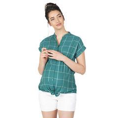Κοντομάνικο καρό πουκάμισο με μάο γιακά