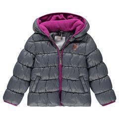 Junior - Φουσκωτό μπουφάν με κουκούλα καπιτονέ και επένδυση μικροφλίς