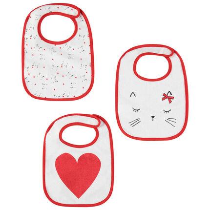 Σετ 3 πετσετέ σαλιάρες με μοτίβα γάτες και καρδιά