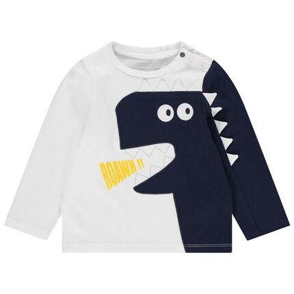 Μακρυμάνικη δίχρωμη μπλούζα με κεντημένο δεινόσαυρο