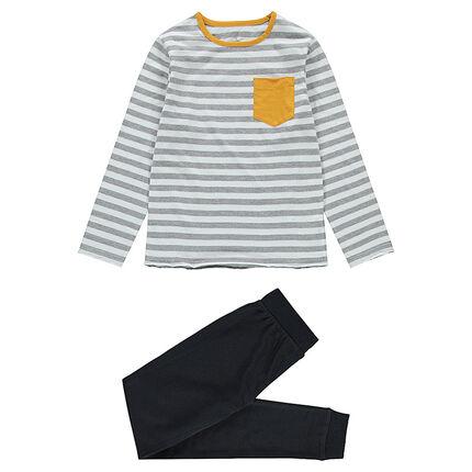Παιδικά - Ζέρσεϊ πιτζάμα με ριγέ μπλούζα και παντελόνι με στάμπα