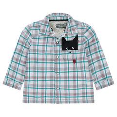 Φανελένιο καρό πουκάμισο με επένδυση από sherpa και φαντεζί τσέπη