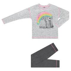 Παιδικά - Πιτζάμα ζέρσεϊ με στάμπα ουράνιο τόξο και μονόχρωμο κολάν