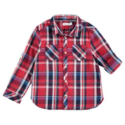 Μακρυμάνικο κόκκινο πουκάμισο με μεγάλα καρό και τσέπες