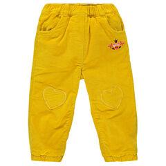 Βελουτέ παντελόνι με επένδυση φλις και καρδιές σήματα