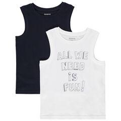 Σετ αμάνικα μπλουζάκια με τύπωμα