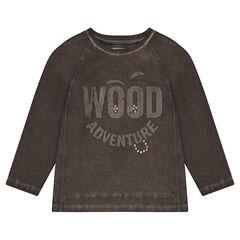 Μακρυμάνικη μπλούζα με μήνυμα σε αντίθεση και φαντεζί πριτσίνια
