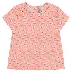 Κοντομάνικη μπλούζα με φλοράλ μοτίβο