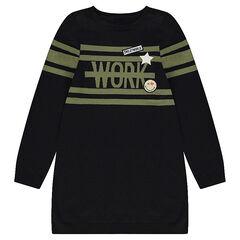 Παιδικά - Μακρυμάνικο φόρεμα σε στιλ πουλόβερ με λωρίδες σε αντίθεση και σήματα ©Smiley
