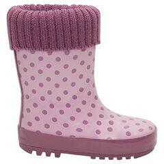 Γαλότσες από καουτσούκ με πλεκτό πάνω μέρος σε ροζ χρώμα και γούνινη επένδυση, νούμερα 20 έως 23