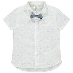 Κοντομάνικο πουκάμισο με εμπριμέ μοτίβο και αφαιρούμενο παπιγιόν