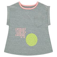 Κοντομάνικη μπλούζα από ύφασμα που αναπνέει με τσέπη και αθλητικές στάμπες