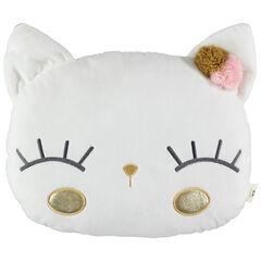 Μαξιλάρι σε σχήμα γάτας με φουντίτσες και κεντημένες λεπτομέρειες