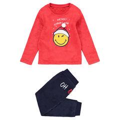 Παιδικά - Δίχρωμη χριστουγεννιάτικη φλις πιτζάμα με στάμπα Smiley