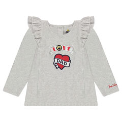 Μακρυμάνικη μπλούζα με βολάν, τυπωμένη καρδιά και ©Smiley