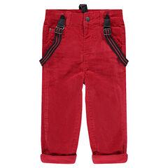 Κόκκινο βελουτέ παντελόνι με ελαστικές αφαιρούμενες τιράντες