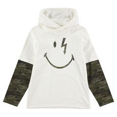 Μακρυμάνικη μπλούζα 2 σε 1 με κουκούλα και στάμπα ©Smiley