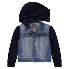 Παιδικά - Τζιν μπουφάν με φθαρμένη όψη από δύο υλικά και αφαιρούμενη κουκούλα