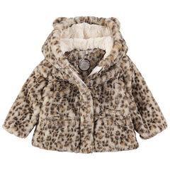 Παλτό με ψεύτικη γούνα με λεοπάρ εφέ και αυτάκια στην κουκούλα.