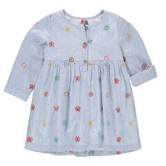 Κοντομάνικο φόρεμα σε στιλ πουκαμίσου με λεπτές ρίγες και κεντημένα μοτίβα
