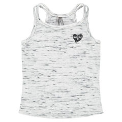 Ριμπ αμάνικη μπλούζα από ζέρσεϊ slub ύφασμα με καρδιά από γκλίτερ