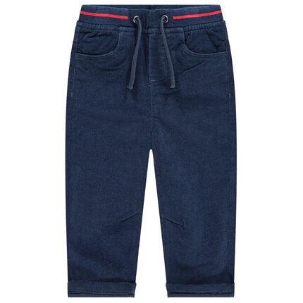 Βελούδινο παντελόνι με λάστιχο στη μέση