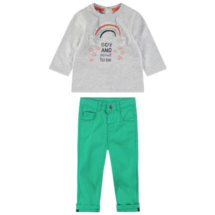 Σύνολο με μακρυμάνικη μπλούζα με κεντημένο ουράνιο τόξο και πράσινο παντελόνι