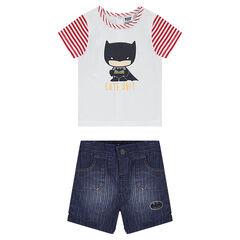 Σύνολο κοντομάνικη μπλούζα με τύπωμα Batman και βερμούδα από σαμπρέ ύφασμα με used όψη