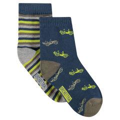 Σετ 2 ζευγάρια ασορτί κάλτσες με ζακάρ μοτίβα / ρίγες