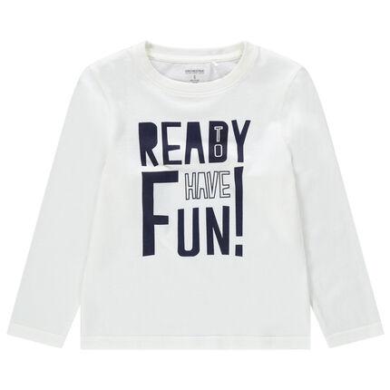 Μακρυμάνικη μπλούζα από βιολογικό βαμβάκι με τυπωμένο μήνυμα