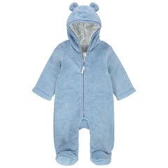 Ολόσωμο μπλε μπουφάν από sherpa με κουκούλα και ζέρσεϊ επένδυση
