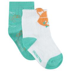 Σετ με 2 ζευγάρια ασορτί κάλτσες με διακοσμητικό ζακάρ μοτίβο