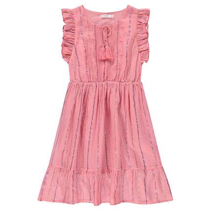 Παιδικά - Μακρύ αμάνικο φόρεμα με γυαλιστερές ρίγες