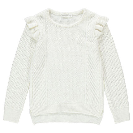 Πλεκτό πουλόβερ με βολάν στα μανίκια