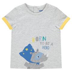 Κοντομάνικη μελανζέ μπλούζα με στάμπα ζωάκι και μήνυμα