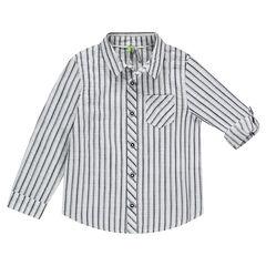 Μακρυμάνικο ριγέ πουκάμισο με μανίκια που γυρίζουν