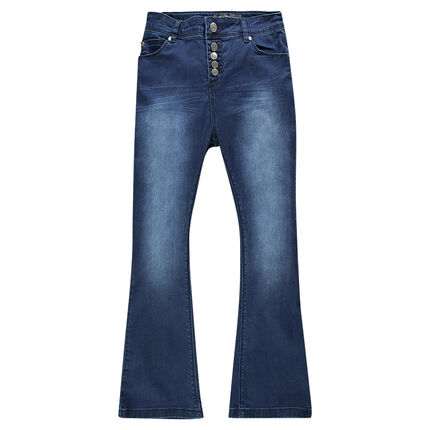 Junior - Jeans large taille haute effet used