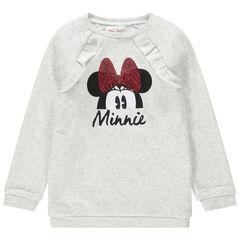 Φούτερ από φανέλα μελανζέ με στάμπα τη Minnie της Disney με φιόγκο από πούλιες