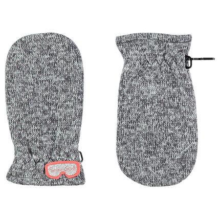 Πλεκτά μελανζέ γάντια με ενιαία παλάμη, φλις επένδυση και απλικέ μάσκα