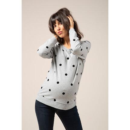 Φανελένιο φούτερ εγκυμοσύνης με πουά μοτίβο